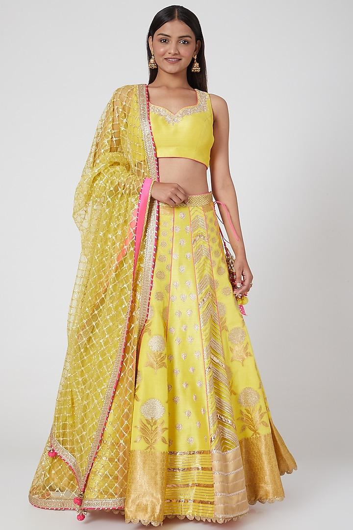 Yellow Embroidered Lehenga Set by Avnni Kapur
