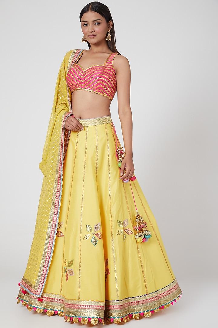 Yellow & Fuchsia Embroidered Lehenga Set by Avnni Kapur