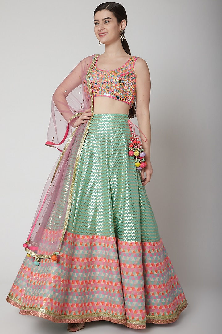 Multi Colored Banarasi Lehenga Set by Avnni Kapur