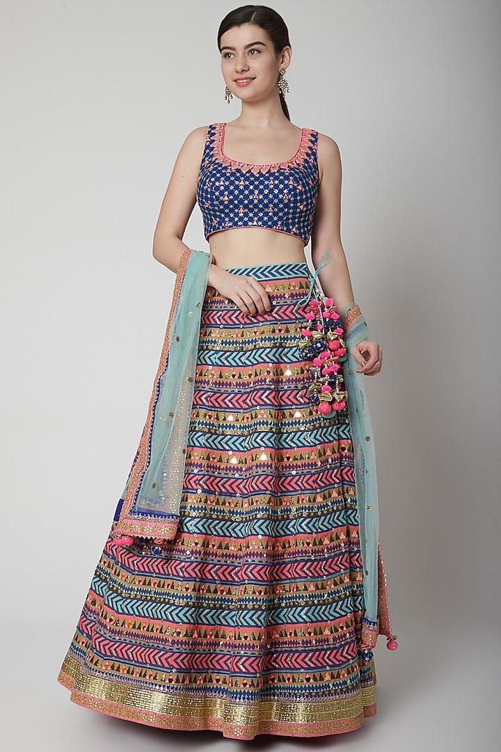 Cobalt Blue Embroidered Blouse & Lehenga Set by Avnni Kapur