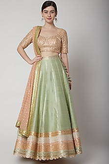 Mint Green Sequins Embroidered Lehenga Set by Avnni Kapur