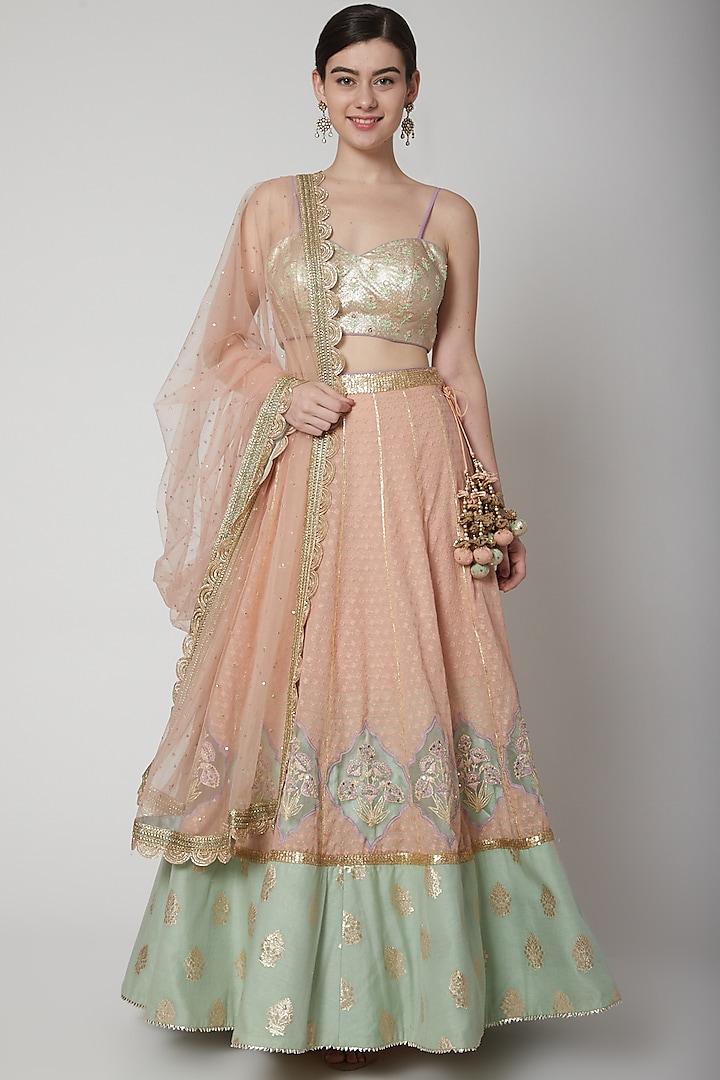 Blush Pink Embroidered Lehenga Set by Avnni Kapur