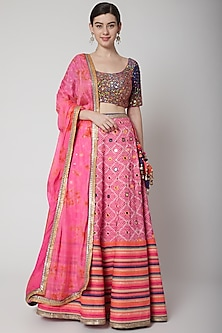 Cobalt Blue Embroidered Blouse & Pink Lehenga Set by Avnni Kapur