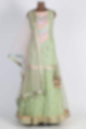 Mint Green Embroidered Lehenga Set by Avnni Kapur