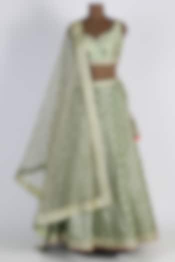 Mint Green Zardosi Embroidered Lehenga Set by Avnni Kapur