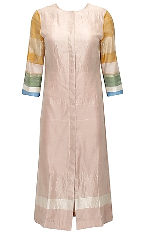 Blush pink cotton silk shirt dress by Akaaro