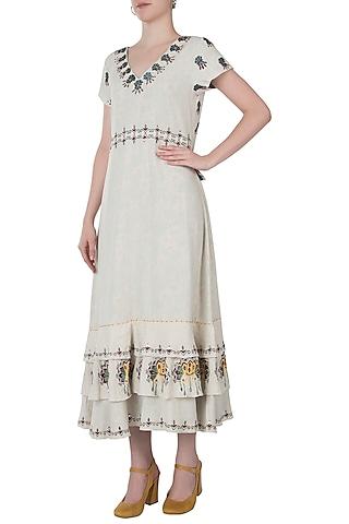 Khadi embroidered frill maxi dress by Akashi