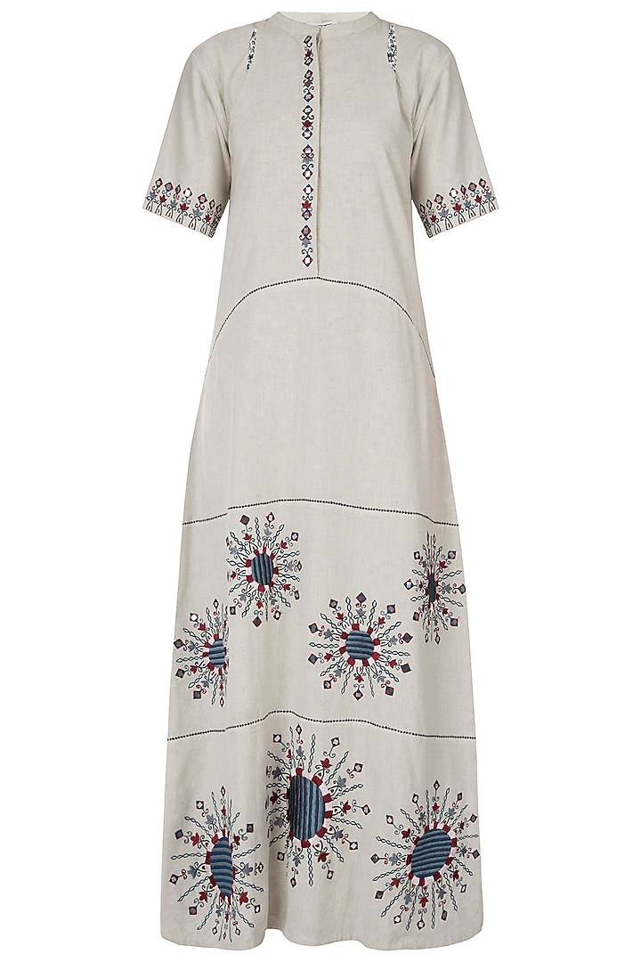 Khadi foil embroidered dress by Akashi