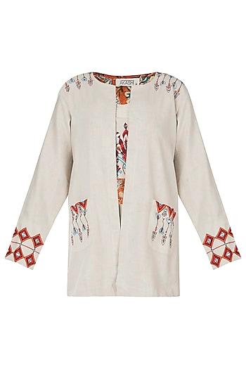 Khadi embroidered open jacket by Akashi