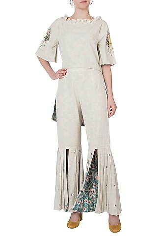 Khadi foil embroidered top with pants by Akashi