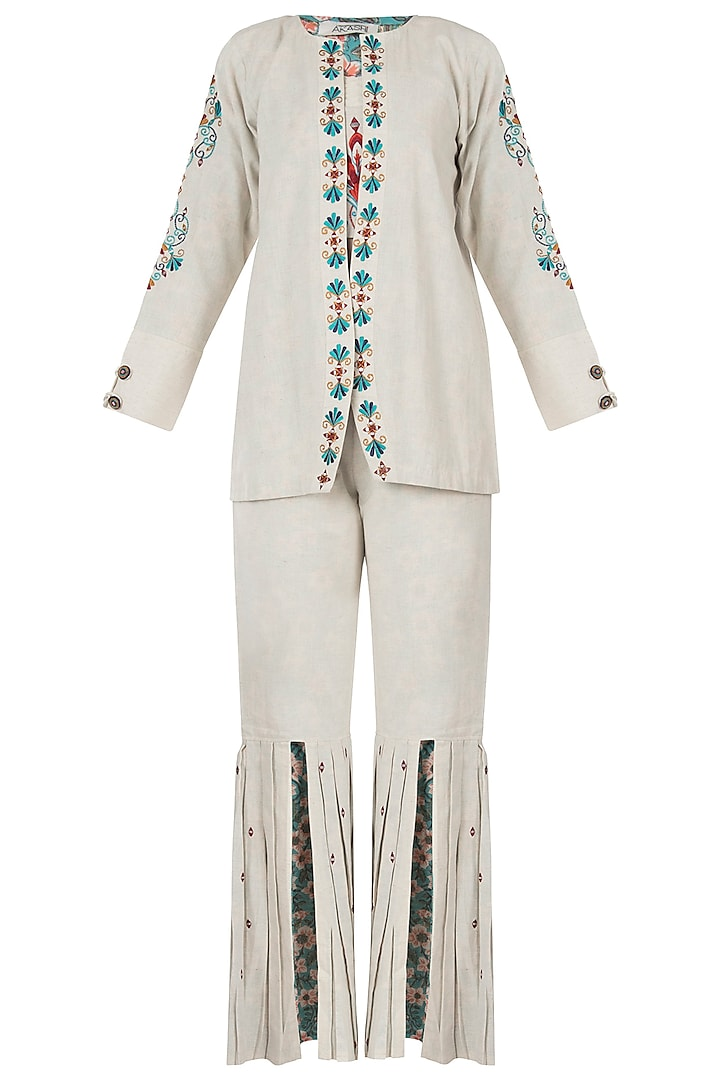 Khadi foil embroidered open jacket by Akashi