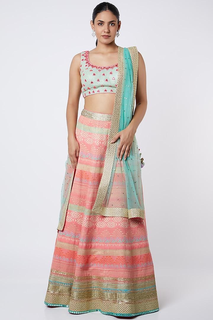 Multi Colored Banarasi & Silk Lehenga Set by Avnni Kapur