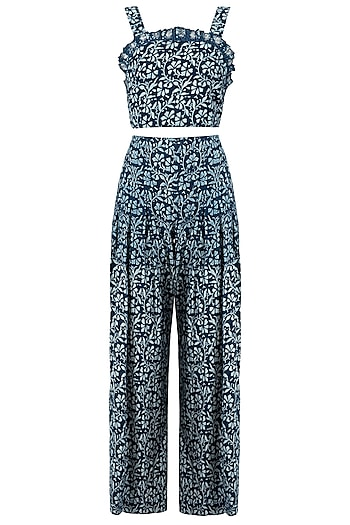 Indigo Print Embellished Crop Top with Palazzo Pants by Akashi