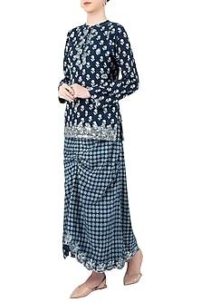 Indigo Print Embellished Skirt by Akashi