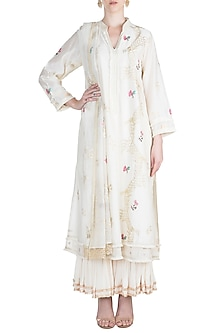 White Embellished Kurta Set by Alkaline by Alka Suman