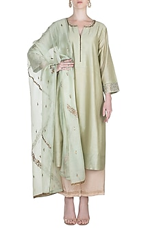 Pista Green Embroidered Kurta Set by Alkaline by Alka Suman