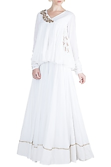 White Embroidered Top With Skirt by Alkaline by Alka Suman