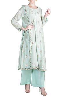 Sky Blue Embroidered Kurta Set by Alkaline by Alka Suman