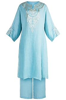 Sky Blue Gota Embellished Kurta Set by Alkaline by Alka Suman