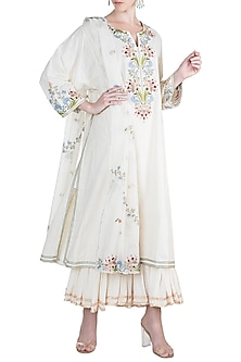 White Embroidered Khadi Kurta With Dupatta by Alkaline by Alka Suman