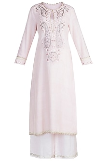 Pink Embroidered Kurta Set by Alkaline by Alka Suman