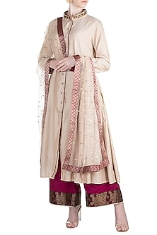 Beige Zardosi Embroidered Kurta Set by Alkaline by Alka Suman