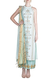 Sky Blue Chikankari Kurta Set by Alkaline by Alka Suman