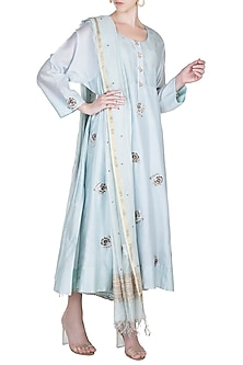 Powder Blue Embroidered Kurta With Dupatta & Slip by Alkaline by Alka Suman