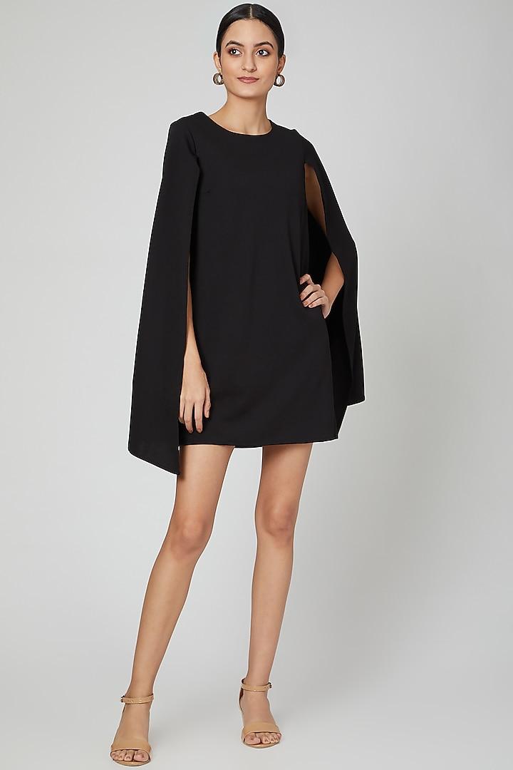 Black Matty Cape Dress by ALIGNE