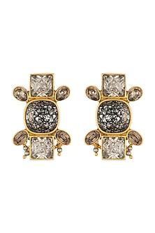 Gold Finish Heera Noori Ruhani Earrings Made with Swarovski Crystals by Ashima Leena X Confluence