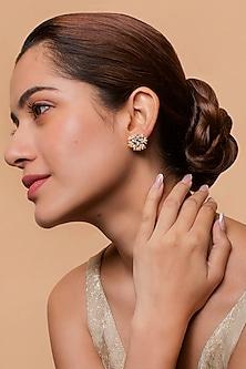 Gold Finish Heera Noori Nazkat Studs Made with Swarovski Crystals & Pearls by Ashima Leena X Confluence