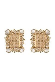 Gold Finish Heera Noori NoorJahan Studs Made with Swarovski Crystals & Pearls by Ashima Leena X Confluence