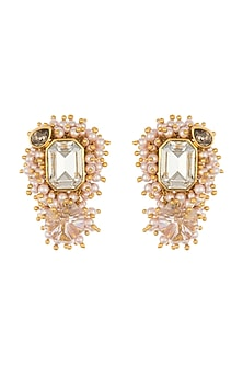 Gold Finish Heera Noori Meera Earrings Made with Swarovski Crystals & Pearls by Ashima Leena X Confluence