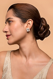 Gold Finish Heera Noori Zainab Studs Made with Swarovski Crystals by Ashima Leena X Confluence