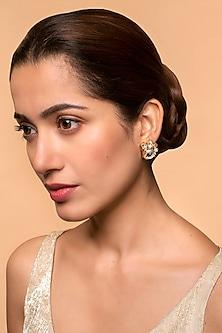 Gold Finish Heera Noori Arzoo Studs Made with Swarovski Crystals & Pearls by Ashima Leena X Confluence