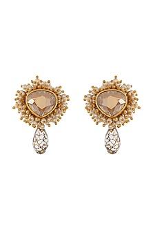 Gold Finish Heera Noori Mumtaz Earrings Made with Swarovski Crystals & Pearls by Ashima Leena X Confluence