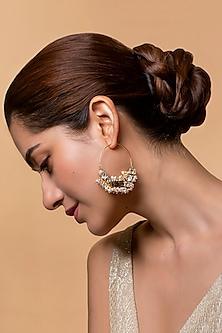 Gold Finish Heera Noori Hoop Earrings Made with Swarovski Crystals & Pearls by Ashima Leena X Confluence