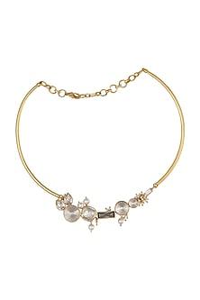 Gold Finish Heera Noori Malika Necklace Made with Swarovski Crystals & Pearls by Ashima Leena X Confluence