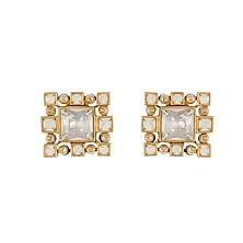 Gold Finish Heera Noori Inayat Studs Made with Swarovski Crystals & Pearls by Ashima Leena X Confluence