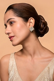 Gold Finish Heera Noori Inayat Studs Made with Swarovski Crystals & Pearls by Ashima Leena X Confluence