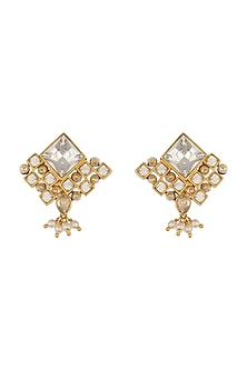 Gold Finish Pearl & Swarovski Stud Earrings by Ashima Leena X Confluence