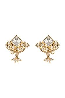 Gold Finish Heera Noori Niyamat Studs Made with Swarovski Crystals & Pearls by Ashima Leena X Confluence