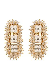 Gold Finish Heera Noori Umrao Earrings Made with Swarovski Crystals & Pearls by Ashima Leena X Confluence