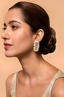 Gold Finish Heera Noori Umrao Earrings Made with Swarovski Crystals & Pearls by Ashima Leena X Confluence