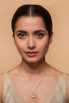 Gold Finish Heera Noori Nusrat Pendant Necklace Made with Swarovski Crystals & Pearls by Ashima Leena X Confluence
