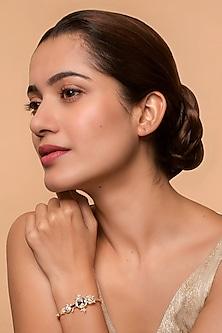 Gold Finish Swarovski Crystals & Pearl Bracelet by Ashima Leena X Swarovski