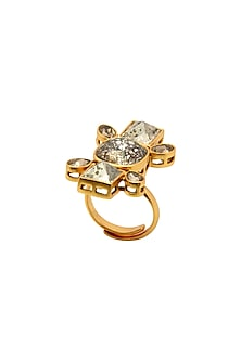 Gold Finish Heera Noori Ruhani Ring Made with Swarovski Crystals by Ashima Leena X Confluence