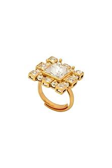 Gold Finish Swarovski Inayat Ring by Ashima Leena X Confluence