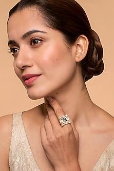 Gold Finish Heera Noori Inayat Ring Made with Swarovski Crystals by Ashima Leena X Confluence