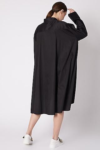Black Asymmetric Cotton Sateen Dress by ALIGNE